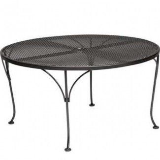 "42"" Round Wrought Iron Mesh Top Dining Umbrella Chat Table Table"