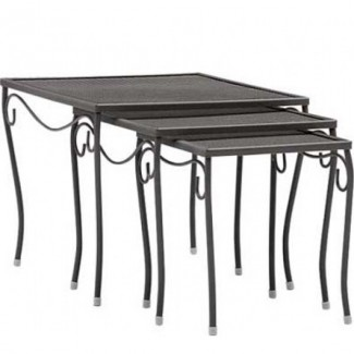 Wrought Iron Restaurant Hospitality Tables Mesh Top Nest of Three Square End Tables