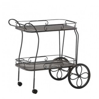 Wrought Iron Tea Cart with Mesh Top and Removable Serving Tray
