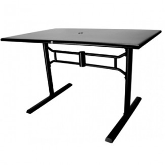Wrought Iron Restaurant Tables Folding Solid Metal Top Table - ADA Compliant