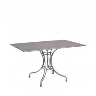 "Solid 30"" x 48"" Rectangular Umbrella Table - Ornate Base"