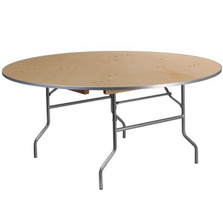 XA-66-BIRCH-M-GG 66 inch round commercial banquet hotel hospitality folding table