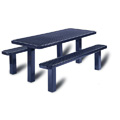 8' Plastisol Multi-Pedestal In-Ground Picnic Table