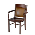 Arm Chair with Steel Frame, Wood Seat and Upholstered Back 981-AR-UB