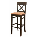 Beech Wood Bar Stool 2399P with Cross Back and Upholstered Seat