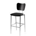 Cafe Flex Bowtie Bar Stool with Upholstered Seat and Wood Back