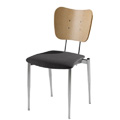 Cafe Flex Bowtie Side Chair with Upholstered Seat and Wood Back