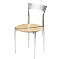 Café Twist Side Chair with Wood Seat and Metal Back 193-WS