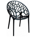 Crystal Stacking Restaurant Side Chair in Black