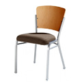 Impilato Steel Stacking Side Chair with Wood Back 12-SIX-W