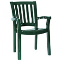 Malibu Stacking Restaurant Arm Chair in Green