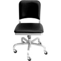 Navy Aluminum Upholstered Swivel Chair with Casters