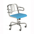 Nine-0 Aluminum Non-Stacking 3-Bar Back Swivel Arm Chair with Casters