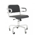 Nine-0 Aluminum Stacking Soft Back Swivel Arm Chair with Casters