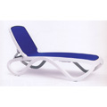 Omega Resin Chaise Lounge - White Frame Blue Fabric