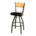 Plain Wood Back Swivel Metal Bar Stool SL2150-1S-P