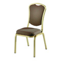 Como Hourglass Back Aluminum Stacking Side Chair with Handgrip