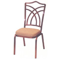 Como Open Crown Back Aluminum Stacking Side Chair with Hourglass Design