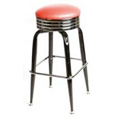 Retro Bar Stool with Black Frame - Red SL2138-RED