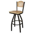 Shoreline Wood Back Swivel Metal Bar Stool SL2150-1S-SH