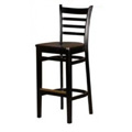 Solid Wood Ladder Back Bar Stool - Black WB101-BLK