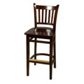Solid Wood Vertical Back Bar Stool - Walnut WB102-WA