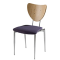 Cafe Flex Triangle Side Chair with Upholstered Seat and Wood Back