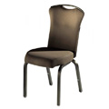 Vario Flared Back Aluminum Stacking Side Chair with Reeded Frame and Handgrip