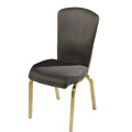 Vario Curve Tapered Back Aluminum Stacking Side Chair with Reeded Frame