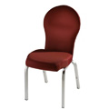 Vario Rounded Flare Back Aluminum Stacking Side Chair with Smooth Frame