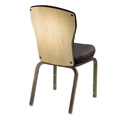 Vario Semi-Flared Back Aluminum Stacking Side Chair with Reeded Frame and Wood Back