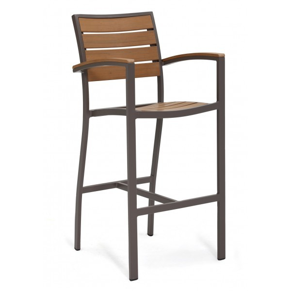 Commercial Outdoor Restaurant Bar Stools Aluminum and Teak Composite Bar Stools
