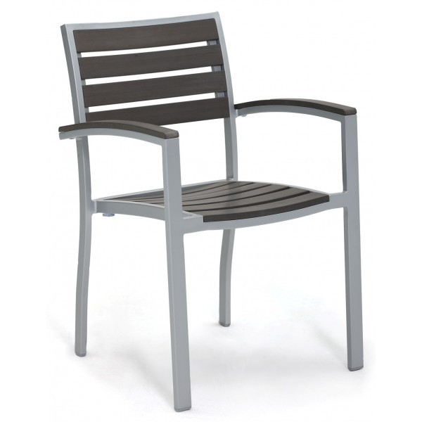 Commercial Outdoor Restaurant Chairs Aluminum and Teak Composite Arm Chairs
