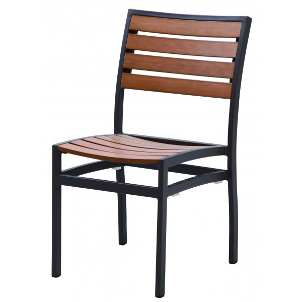Commercial Outdoor Restaurant Chairs Aluminum and Teak Composite Side Chairs
