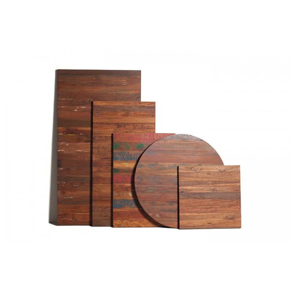Modern Industrial Wood Table Tops with Banded Metal Edge