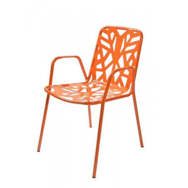 Italian-Metal-stacking-cafe-restaurant-arm-chair-fancy-leaf