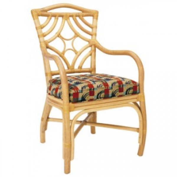 Rattan Upholstered Arm Chairs