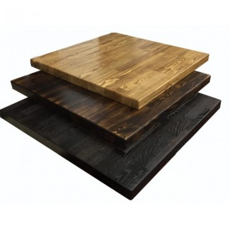 Industrial Look Flamed Wood Table Tops for Commercial Use