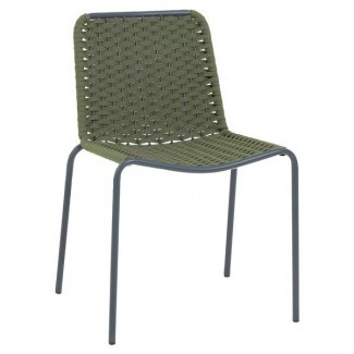 Commercial Hospitality Restauarnt Aluminum and Resin Weave Stacking Side Chair Outdoor