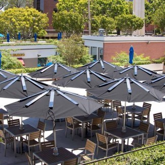 Commercial Umbrella with Solar Powered Mobile Device Charger for Universities Schools Pools Cafes Coffee Shops