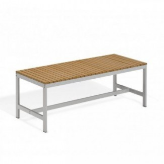Commercial Outdoor Restaurant Bench Aluminum and Teak Composite Benches