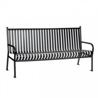 Commercial Restaurant Furniture Wrought Iron Benches and Trash Cans