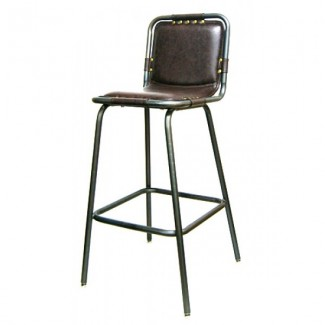 Industrial Rustic Hospitality Restaurant Vinyl and Metal Bar Stool