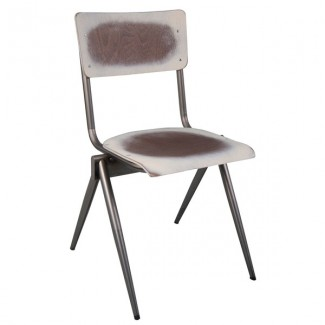 Industrial Rustic Hospitality Restaurant Wood and Metal Side Chair