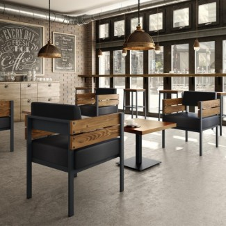 Industrial Style Commercial Wood Metal Bench Industrial Lounge And Bench Seating