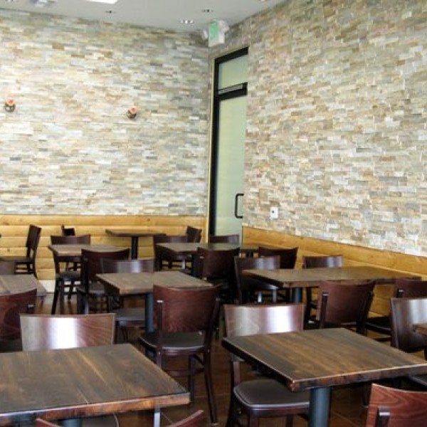 Restaurant chairs in wood and wrought iron