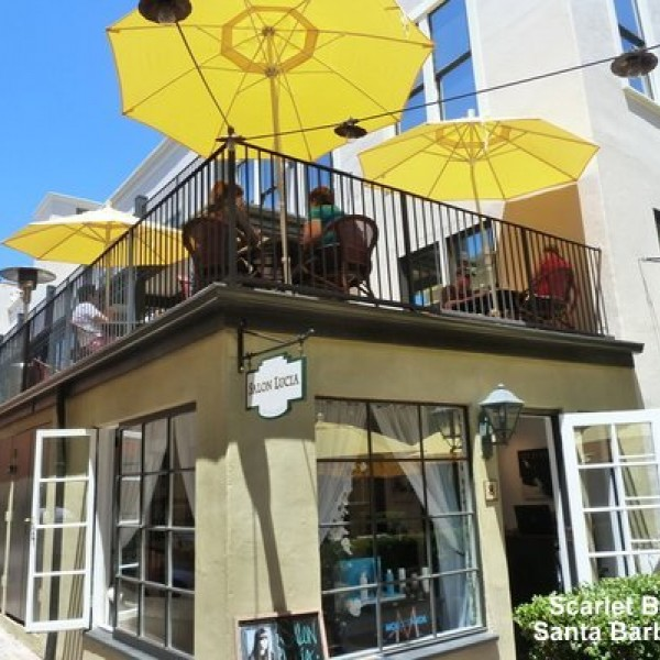 Cafe market umbrellas offer shade