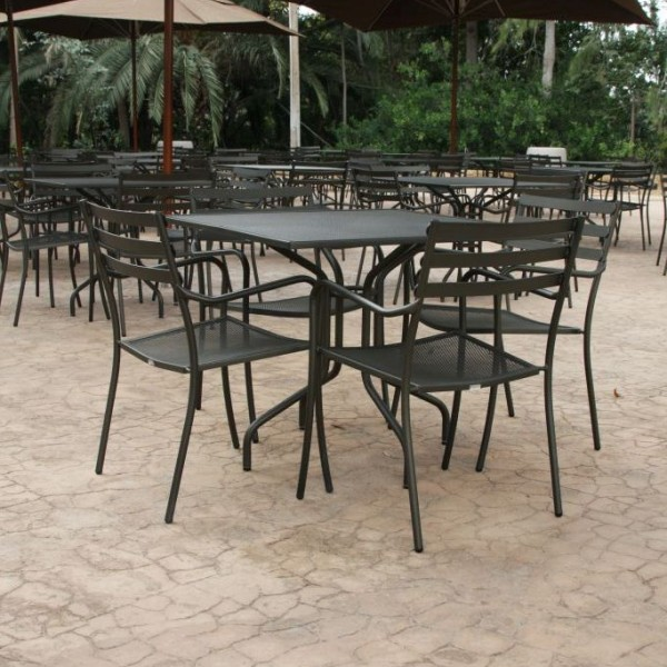 Outdoor restaurant wrought iron chairs