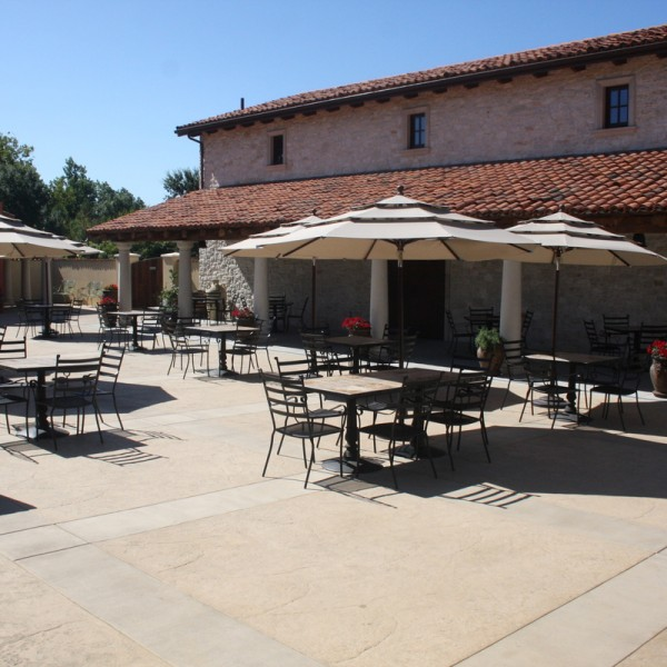 Outdoor tables and chairs, and patio umbrellas