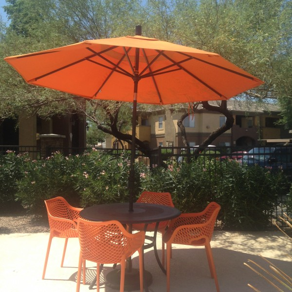 Resin Arm Chairs and Commercial Patio Umbrellas